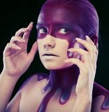 Kreative Gesichtkunst, junge Frau Lizenzfreies Stockbild
