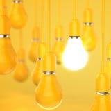 Kreative Glühlampe 3d des Ideen- und Führungskonzeptes entwerfen Stockfotos