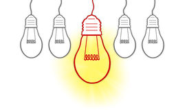 Kreative Glühlampe der großen Ideen Stockbilder