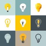 Kreative Glühlampe. Satz Gestaltungselemente Stockbilder