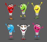 Kreative Glühlampeideen des Vektors mit Zeichentrickfilm-Figur Lizenzfreies Stockfoto
