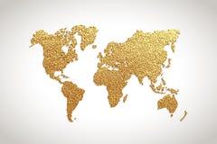 Kreative Goldkarte der Welt Auch im corel abgehobenen Betrag lizenzfreie abbildung