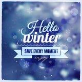 Kreative grafische Mitteilung für Winterdesign Stockfotografie