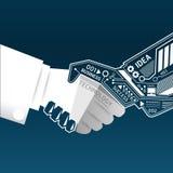Kreative Händedruckzusammenfassungs-Schaltkreistechnik inf Stockfoto