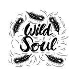 Kreative Hand gezeichnet, wilde Seele beschriftend stock abbildung