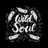 Kreative Hand gezeichnet, wilde Seele beschriftend lizenzfreie abbildung