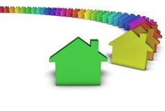 Grünes Haus-Ikonen-buntes Konzept Stockbild