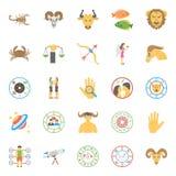 Kreative Horoskop, Numerology und Astrologie flache IconsFlat-Ikonen eingestellt vom Horoskop, vom Numerology und von der Astrolo Stockfotografie