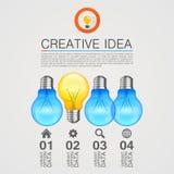Kreative Idee, Ideenlampe, heller weißer Hintergrund, Vektorillustration stockfotos