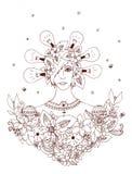 Kreative Idee - Illustrationsmädchen von Bildmädchen einer Reihe von der unterschiedlichen Teilwelt Stockfotos