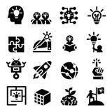 Kreative Idee u. stellen sich Ikonensatz vor Stockfotografie