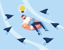 Kreative Ideen-Abwehr vom Geschäfts-Wettbewerb Geschäftsfrau Character Swim auf Schlauch über Gefahrenfischen lizenzfreie abbildung