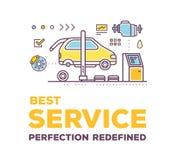 Kreative Illustration des Vektors der Autoservice-Werkstatt Stockbilder