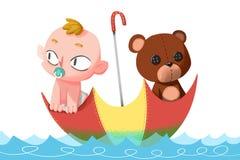 Kreative Illustration und innovative Kunst: Baby-und Bärn-Spielzeug im Regenschirm auf dem Wasser Stockfotos