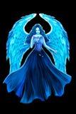 Kreative Illustration und innovative Kunst: Blauer Engel und Rose lizenzfreie abbildung