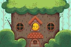 Kreative Illustration und innovative Kunst: Das Haus des Vogels, das deluxe große Baum-Haus vektor abbildung
