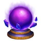 Kreative Illustration und innovative Kunst: Magischer Crystal Ball mit mysteriöser Feuer-Flamme Stockbild