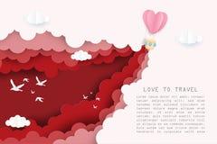 Kreative Illustrationsliebe, zu reisen Valentinstagkonzept stock abbildung