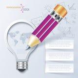 Kreative infographic Schablone mit Bleistift und Glühlampe Stockfotografie