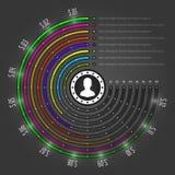 Kreative Infographics-Vektor-Schablone. Kreis hält Diagramm ab. Konzept-Illustrations-Design des Vektor-EPS10 Stockfotografie
