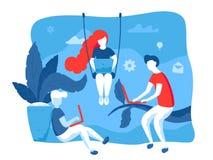 Kreative Leute, die in coworking Raum zusammenarbeiten Vektorillustration im flachen Design Kreativer Arbeitsprozeß, Netz lizenzfreie abbildung