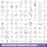 100 kreative Marketing-Ikonen eingestellt, Entwurfsart Stockbild