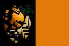 Kreative Mischung der Orange und der Banane in einer minimalistic abstrakten Mosaikart auf einem schwarzen Hintergrund Nahe bei d Lizenzfreie Stockfotos