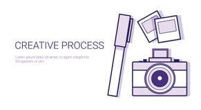 Kreative Prozessgeschäfts-Konzept-Schablonen-Netz-Fahne mit Kopien-Raum stock abbildung