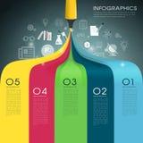 Kreative Schablone infographic mit Kennzeichenfederzeichnungsregenbogen Stockfotografie