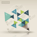 Kreative Schablone mit triaingle Bleistift infographic Lizenzfreies Stockfoto