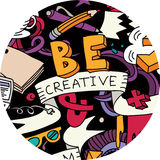 Kreative Stiftidee kritzelt runde Farbe des Symbols Lizenzfreies Stockfoto