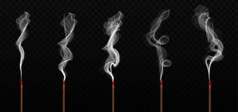 Kreative Vektorillustration des realistischen Räucherstäbchenaromas mit dem Rauche lokalisiert auf transparentem Hintergrund Loka stock abbildung