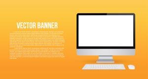 Kreative Vektorillustration von übertragen Monitorspott oben mit dem leeren Bildschirm, der auf dem Hintergrund lokalisiert wird  Lizenzfreie Stockbilder