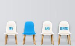 Kreative Vektorillustration von stellen uns - Rekrutierungskonzept, arbeitsloses Interview der Betriebsmitteljobbeschäftigungs-Ka stock abbildung