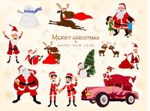 Kreative Verzierungen und Charaktere für Weihnachten lizenzfreie abbildung