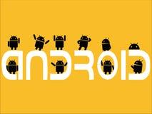 Kreative Wortkonzept Android-Maskottchentätigkeiten vektor abbildung