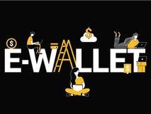 Kreative Wortkonzept E-Geldbörse und Leute, die Tätigkeiten tun vektor abbildung