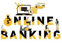Kreative Wortkonzept Online-Bankings- und Leutetätigkeit stock abbildung