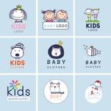 Kreative Zeichen, Symbole und Logosatz, Markenidentität für Baby, Kinder und Kind stock abbildung
