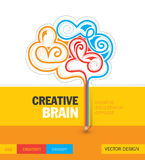 Kreativer Brain Educational Concept Template Design Lizenzfreie Stockbilder