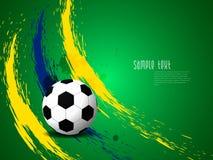 Kreativer eleganter Fußballhintergrund mit Brasilien-Farbschmutzspritzen. Lizenzfreie Stockfotografie