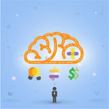 Kreativer Gehirn Ideen-Konzepthintergrund lizenzfreie abbildung