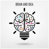 Kreativer Gehirn Ideen-Konzepthintergrund Stockbild