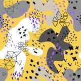 Kreativer Gekritzelkunsttitel mit verschiedenen Formen und Beschaffenheiten collage Abstrakter Karikaturhintergrund des Farbsprit stock abbildung