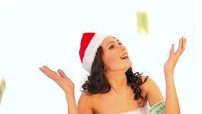 Kreativer Geschenk Weihnachtsverkauf für Einkaufsfrau in Sankt-Hut stock video