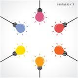 Kreativer Glühlampe Ideenkonzept-Fahnenhintergrund Brainstormin lizenzfreie abbildung