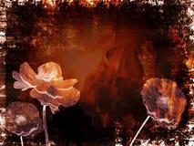 Kreativer grungy Hintergrund mit Blumen Lizenzfreies Stockfoto