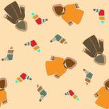 Kreativer Herbstmantel und nahtloses Muster der Socken Hand gezeichnete Beschaffenheiten vektor abbildung