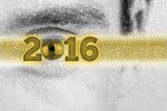 Kreativer Hintergrund des neuen Jahres 2016 mit dem Datum in einem goldenen bann Lizenzfreie Stockbilder