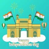 Kreativer Indien-Unabhängigkeitstag-Design-Vektor Art Logo Stockfotos